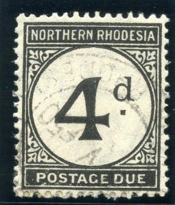 Northern Rhodesia 1929 KGV Postage Due 4d black (rough paper) VFU. SG D4 var.