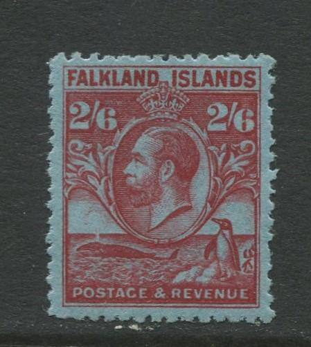 Falkland Is.- Scott 61 - KGV Definitive Issue -1929 - MH - Single 2/6p Stamp