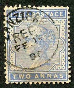 Zanzibar SGZ85 1882-90 India 2a Blue 15 Feb 90 with CDS (type Z6) Used