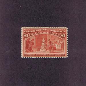 SC# 241 UNUSED OG PH $1 COLUMBIAN, 1893, VF 2003 & 2004 CERTS