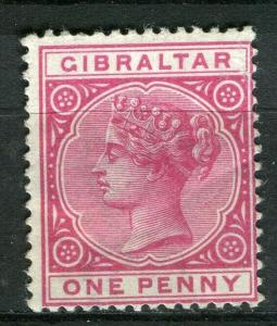 GIBRALTAR; 1898 early classic QV issue fine Mint hinged Shade of 1d. value