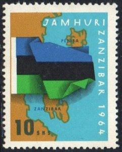 Zanzibar 1964 10s Flag on Map MH