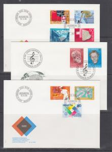 Switzerland Mi 1290/1303, 1985 issues, 3 complete sets on 3 cacheted FDCs