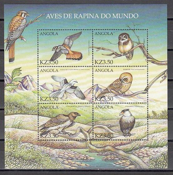 Angola, Scott cat. 1143 A-F. Various Birds with Owl, sheet of 6.