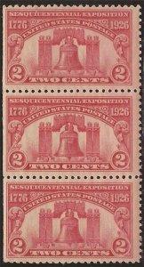 US Stamp - 1926 2c Sesquicentennial Expo - 3 Stamp Strip SE MNH - Scott #627