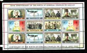 Vanuatu-Sc#530-Unused NH sheet-Charles De Gaulle-1990-
