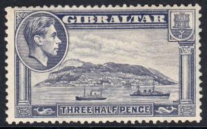 Gibraltar KGVI 1938 1.5d Slate-Violet SG123b Mounted Mint