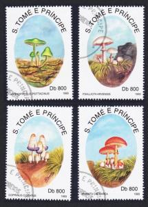 Sao Tome Fungi Mushrooms 4v CTO SC#1126-1129