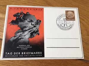 Frankfurt Main  Postal Union monument Stamps Day 1938 Stamps Post Card Ref 56984