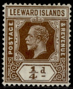 LEEWARD ISLANDS GV SG81, ¼d brown, LH MINT. Cat £20.