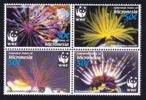 Micronesia WWF Feather Stars 4v in block 2*2 SG#1347-1350 MI#1674-1677 SC#659