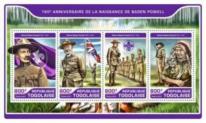Togo - 2017 Robert Baden Powell - 4 Stamp Sheet - TG17214a