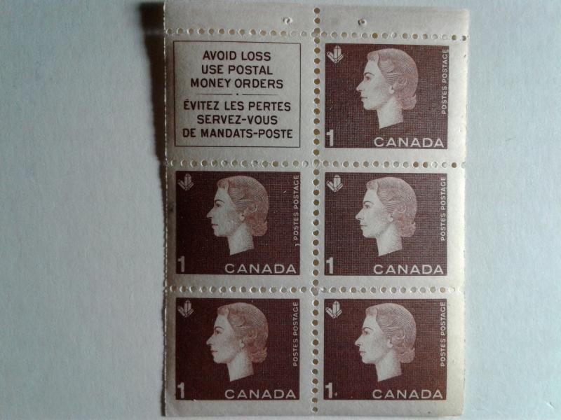 CANADA SCOTT # 401A PANE ONE CENT QUEEN ELIZABETH 11 MINT NEVER HINGED