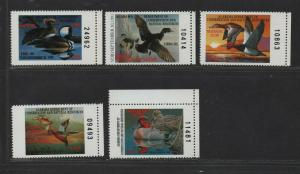 $US State Duck Stamps, Alabama Sc#11-15 M/NH/VF, complete set, Cv. $50