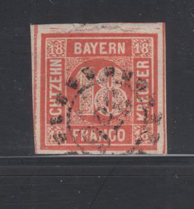 Bavaria Sc 14 used 1862 18kr vermilion red Numeral, 4 margins, F-VF