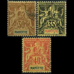MAYOTTE 1892 - Scott# 12-4 Goddess 30-40c Used