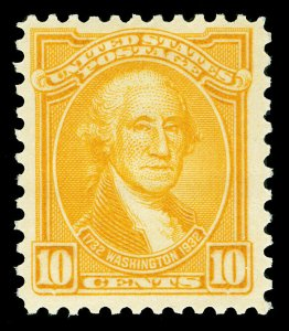 Scott 715 1932 10c Orange Yellow Washington Issue Mint F-VF OG NH Cat $15