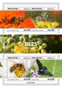 Stamps  MALDIVES 2020 - BEES.
