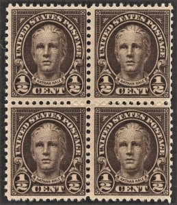 US 653 MNH VF 1/2 Cent Nathan Hale Block of 4 - Olive Brown