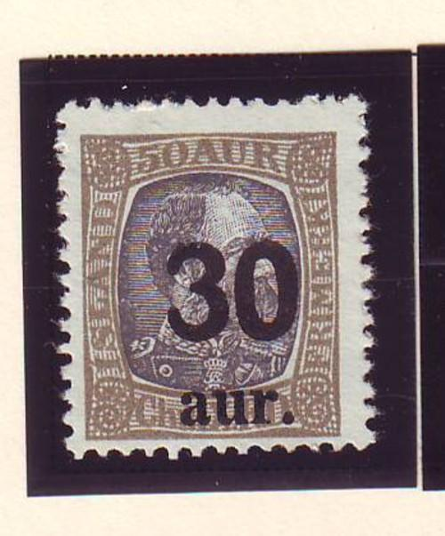 Iceland Sc 137 1925 30 a ovpt on 50a stamp used