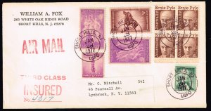 US STAMP INSURED AIR MAIL COVER