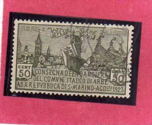 SAN MARINO 1923 CONSEGNA BANDIERA DI ARBE DELIVERED TO FLAG CENT. 50 TIMBRATO...