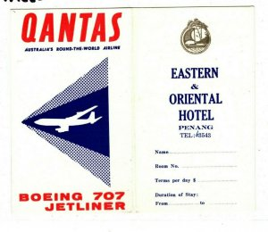 Australia AVIATION Qantas MALAYA Hotel Airline BOEING 708 JETLINER c1967 AA222