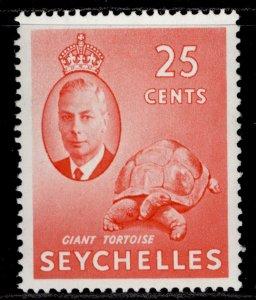 SEYCHELLES GVI SG164, 25c vermilion, LH MINT.