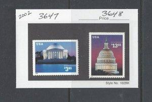 US Scott # 3647 & 3648  // 2002 Regular Issues Mint Set