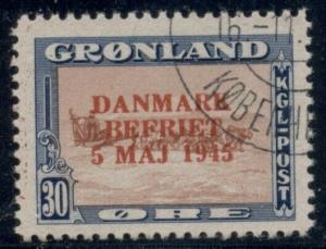 GREENLAND #24a (24v2) 30ore Wrong Color Ovpt, used, VF, Scott $240.00