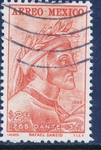 MEXICO C308, 700th Anniv of the birth of Dante Alighieri USED (858)