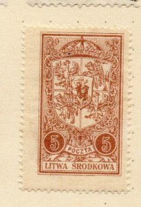 LITHUANIA 1920-22 Early Issue Fine Mint Hinged 5r. NW-07182