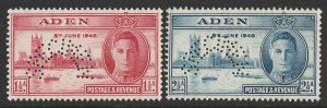 ADEN : 1946 KGVI Victory set 1½a & 2½a, perf SPECIMEN. MNH **.