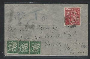 MALTA COVER (P0611B) 1938 KGVI 1 1/2C COVER TO FRANCE POSTAGE DUES 60CX3