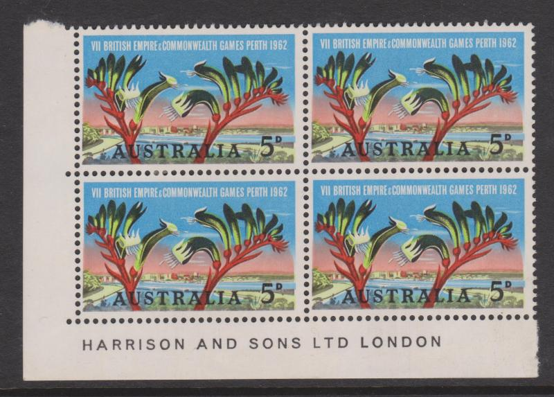 Australia 1962 Common Games Sc#349 Corner Block of 4 Mint Hinged on 2 stamps