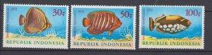 J29339, 1972 indonesia set mnh #834-6 fish