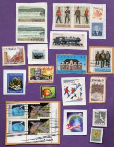 Canada Scott Random Group of Stamps on Paper - 23 Used