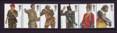 Great Britain Sc 2508-13 2007 Army Uniforms stamp set mint NH
