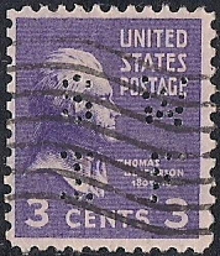 807 3 Cent Thomas Jefferson Stamp Used F
