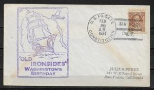 1934 Cachet Cover Washington's Birthday Frigate USS Constitution,VF USED (RN-6)