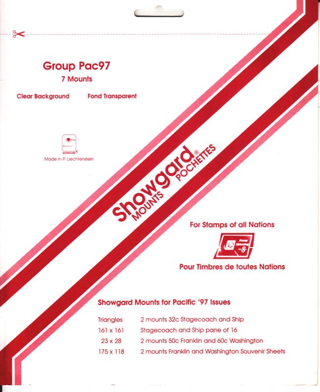 SHOWGARD CLEAR MOUNTS GROUP PACIFIC 97 (7) RETAIL PRICE $5.75