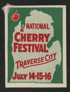 National Cherry Festival, Traverse City, Michigan - Vintage Poster Stamp