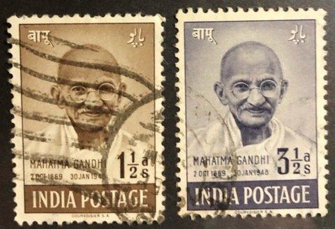 India Scott #203-204 VF Mahatma Ghandhi Used Cat. $7.25