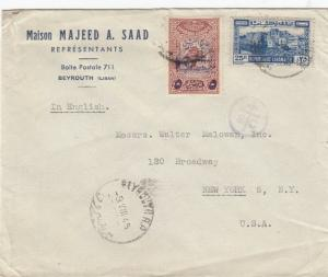Cover from Beyrouth Lebanon to USA Censored 1945
