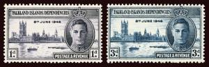 FALKLAND IS DEP Scott #1L9-10 (SG G17-18) 1946 Peace Issue unused OG LH