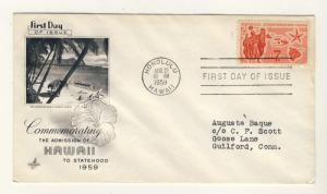 US - 1959 - Scott C55 FDC - HAWAI Statehood