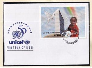 Gabon   #851  FDC  sheet  1997  Unicef 50 years