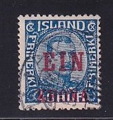Iceland    #150  used   1926  Christian X  1k on 40a   surcharge