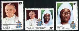 Zaire Scott 1226-28 MVFNHOG - Sister Anuarite Beatification - SCV $3.50