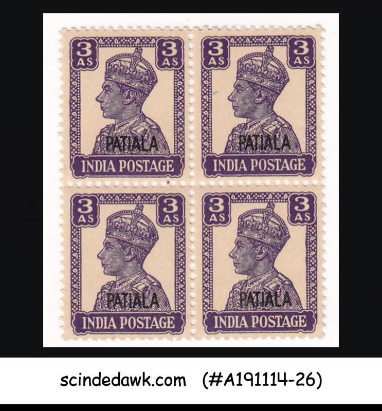 PATIALA STATE - 1944 3ANNAS/3AS KGVI SG#110 BLK OF 4 - OVPT - MINT NH